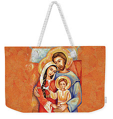 Weekender Tote Bag featuring the painting The Holy Family by Eva Campbell