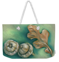 Weekender Tote Bag featuring the pastel Autumn Oak Leaf And Acorns by MM Anderson