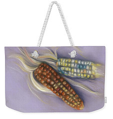 Weekender Tote Bag featuring the pastel Colorful Indian Corn Ears by MM Anderson