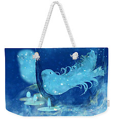 Weekender Tote Bag featuring the mixed media Season's Greetings Blue With Bird by Rachel Hannah