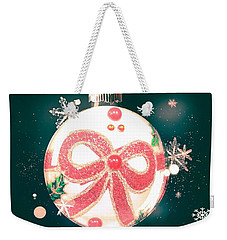 Weekender Tote Bag featuring the photograph Merry Christmas Ribbon Ornament by Rachel Hannah