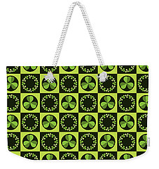 Weekender Tote Bag featuring the digital art Green Shamrocks Circles And Squares by MM Anderson