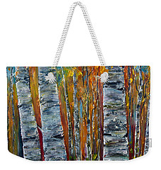 Weekender Tote Bag featuring the photograph Aspen Trees By Olena Art by OLena Art