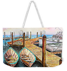 At The Dock In Gloucester Massachusetts Weekender Tote Bag