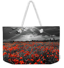 Weekender Tote Bag featuring the photograph At The Going Down Of The Sun Selective Red Version by Gary Eason