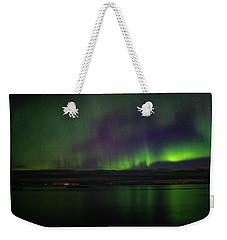 Aurora Borealis Reflecting At The Sea Surface Weekender Tote Bag