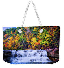 Weekender Tote Bag featuring the photograph Autumn Beauty At Lower Taughannock Falls  by Lynn Bauer