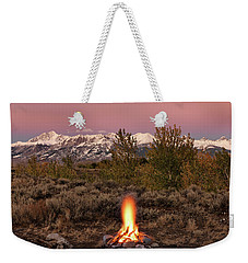 Weekender Tote Bag featuring the photograph Autumn Camp Fire by Leland D Howard