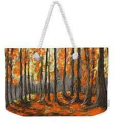 Weekender Tote Bag featuring the painting Autumn Forest by Anastasiya Malakhova