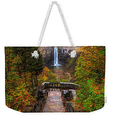 Weekender Tote Bag featuring the painting Autumn Morning At Taughannock Falls by Dan Sproul