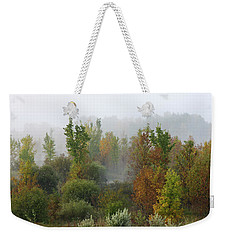 Weekender Tote Bag featuring the photograph Autumn Morning Fog by Tatiana Travelways