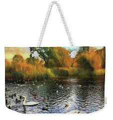 Weekender Tote Bag featuring the photograph Autumn On The Lake by Leigh Kemp