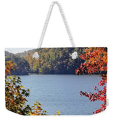 Weekender Tote Bag featuring the photograph Autumn On The Lake by Rachel Hannah