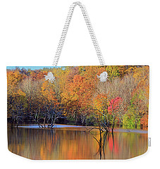 Weekender Tote Bag featuring the photograph Autumn Reflections by Angela Murdock