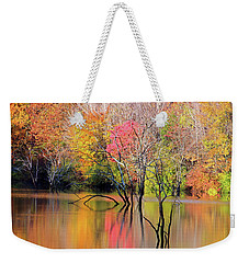 Weekender Tote Bag featuring the photograph Autumn Reflections At Alum Creek by Angela Murdock