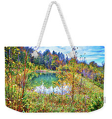 Weekender Tote Bag featuring the photograph Autumn Reflections At The Pond by Lynn Bauer