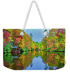 Weekender Tote Bag featuring the photograph Autumn On Mirror Lake by Andy Crawford