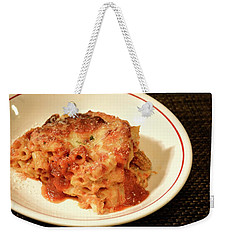 Weekender Tote Bag featuring the photograph Baked Ziti Serving 3 by Angie Tirado