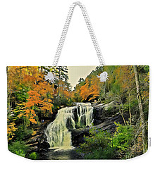 Weekender Tote Bag featuring the photograph Bald River Falls In Autumn  by Rachel Hannah