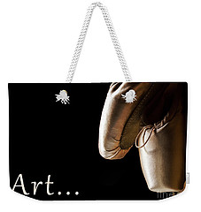 Ballet Pointe Shoes Hanging Over Black Background.  Weekender Tote Bag