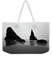 Weekender Tote Bag featuring the photograph Bandon Beach Oregon Bw by Rospotte Photography