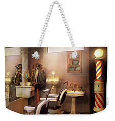 Weekender Tote Bag featuring the photograph Barber - Basement Barber by Mike Savad