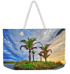Weekender Tote Bag featuring the photograph Beach Sunrise Over The Palms by Lynn Bauer