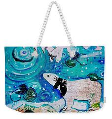 Bear And Moon Weekender Tote Bag