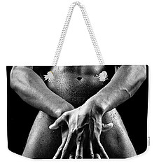 Beautiful Man Nude Or Naked With Great Sexy Body. Image In Black And White Weekender Tote Bag