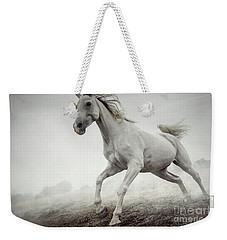 Weekender Tote Bag featuring the photograph Beautiful White Horse Running In Mist by Dimitar Hristov