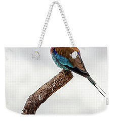 Weekender Tote Bag featuring the photograph Beauty With Wings, The Lilac Breasted Roller by Kay Brewer