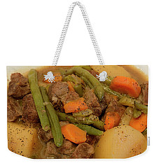 Weekender Tote Bag featuring the photograph Beef Stew Serving by Angie Tirado