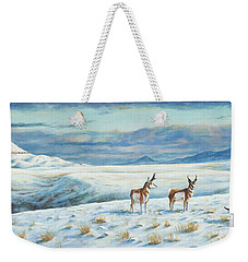Weekender Tote Bag featuring the painting Belt Butte Winter by Kim Lockman