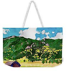 Weekender Tote Bag featuring the painting Bergen Peak Summer Watercolor by Dan Miller