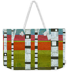 Birches With Pink And Blue And Green Weekender Tote Bag