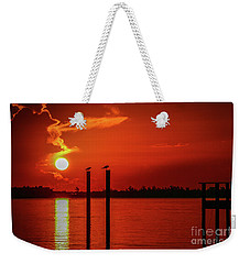 Bird On A Pole Sunrise Weekender Tote Bag