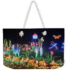 Birdhouse Garden Christmas Lights At Night Weekender Tote Bag