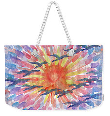 Weekender Tote Bag featuring the painting Birds Abstraction by Dobrotsvet Art