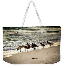 Weekender Tote Bag featuring the photograph Birds On The Beach by Doug Camara