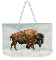 Bison In Snow Storm Weekender Tote Bag