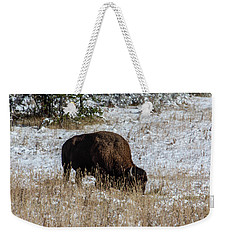 Weekender Tote Bag featuring the photograph Bison In The Snow by Pete Federico
