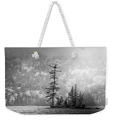 Weekender Tote Bag featuring the photograph Black And White Moody Morning Moosehead Lake by Dan Sproul