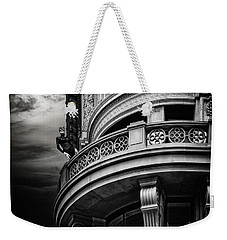 Weekender Tote Bag featuring the photograph Black Cat On A Fifth Avenue Balcony by Chris Lord