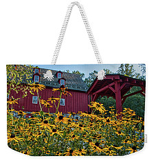 Weekender Tote Bag featuring the photograph Black Eyed Susans At The Jerusalem Mill by Mark Dodd