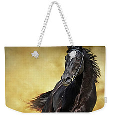 Weekender Tote Bag featuring the photograph Black Horse Running Wild by Dimitar Hristov