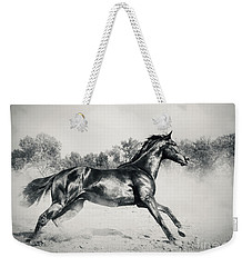 Weekender Tote Bag featuring the photograph Black Stallion Horse by Dimitar Hristov