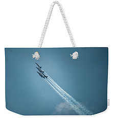 Weekender Tote Bag featuring the photograph Blue Angel Rockets by Mark Duehmig