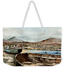 Weekender Tote Bag featuring the painting Blue Boat At Greystones Harbour by Val Byrne
