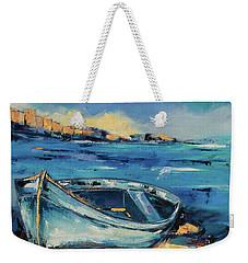 Blue Boat On The Mediterranean Beach Weekender Tote Bag