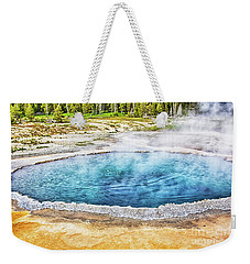 Weekender Tote Bag featuring the photograph Blue Crested Pool At Yellowstone National Park by Tatiana Travelways